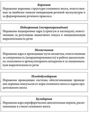 Классификация дизартрии таблица